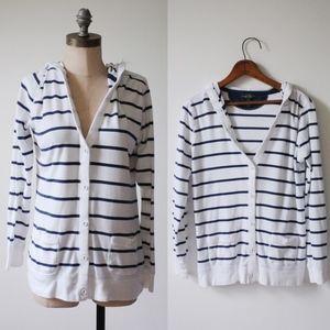 Ralph Lauren Hoodie   Navy & White Striped Hoodie